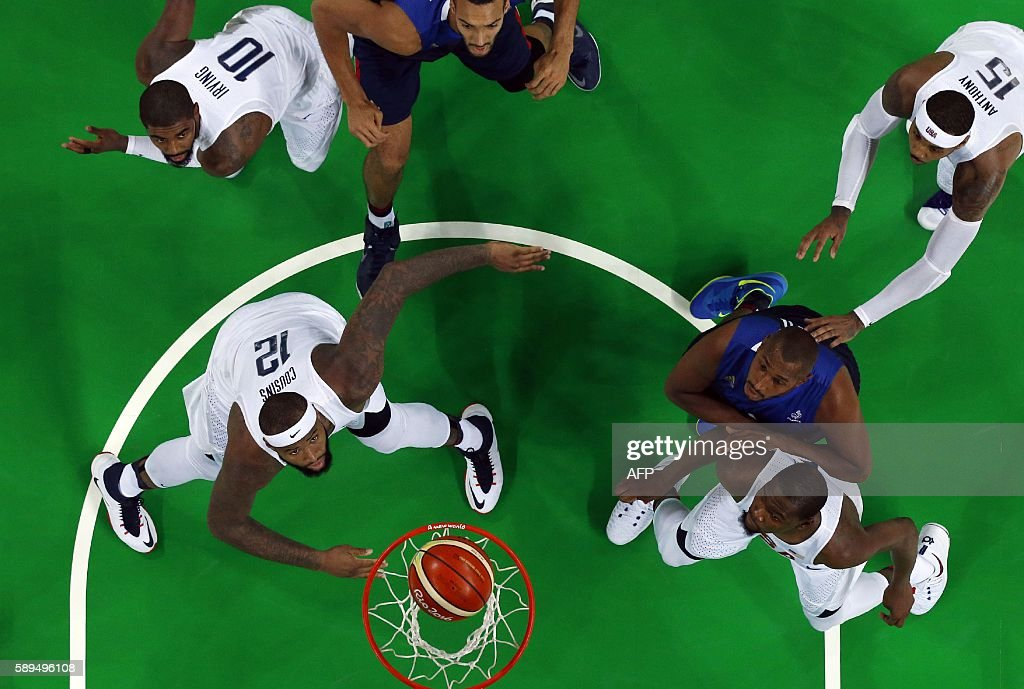 An overview shows USA's centre DeMarcus Cousins USA's guard Kyrie Irving France's centre Rudy Gobert USA's forward Carmelo Anthony France's power...