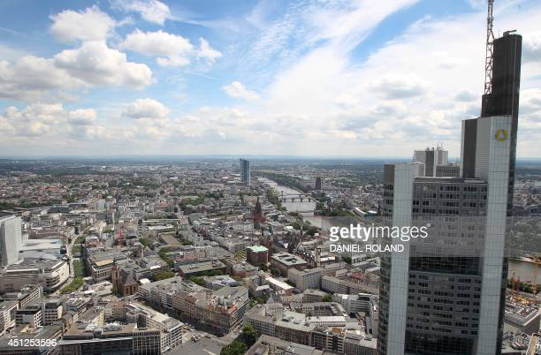 An overview taken from the top of Frankfurt's Maintower shows the Commerzbank tower in the 'Eastend' district of Frankfurt am Main western Germany on...
