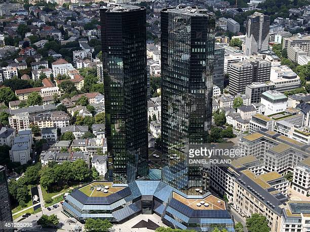 An overview taken from the top of Frankfurt's Maintower shows the headquarters of the Deutsche Bank in the district 'Bahnhofsviertel' of Frankfurt am...
