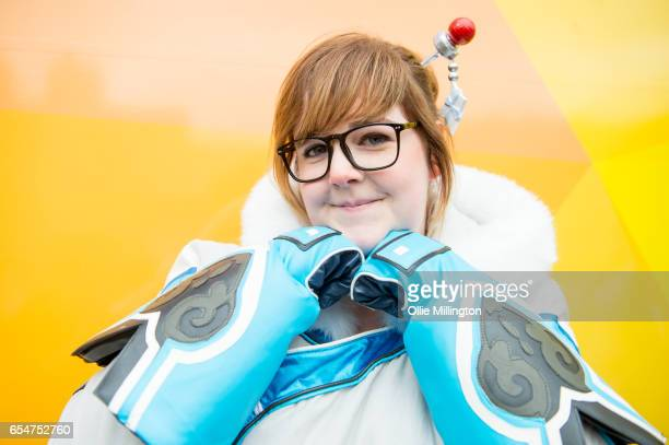 An Overwatch cosplayer during the MCM Birmingham Comic Con at NEC Arena on March 18 2017 in Birmingham England