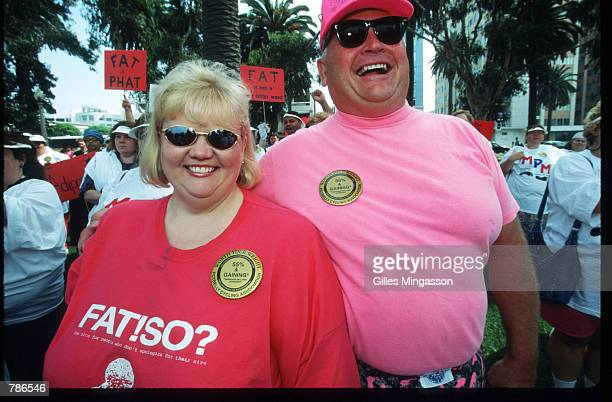 An overweight couple attends the Million Pound March August 15 1998 in Santa Monica CA Sponsored by the National Association to Advance Fat...