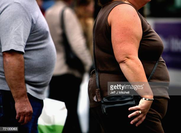An overweight person walks through Glasgow city centre on October 10 2006 in Glasgow Scotland According to government health maps published today...