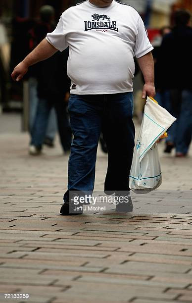 An overweight person walks through Glasgow City centre on October 10 Glasgow Scotland According to government health maps published today people in...