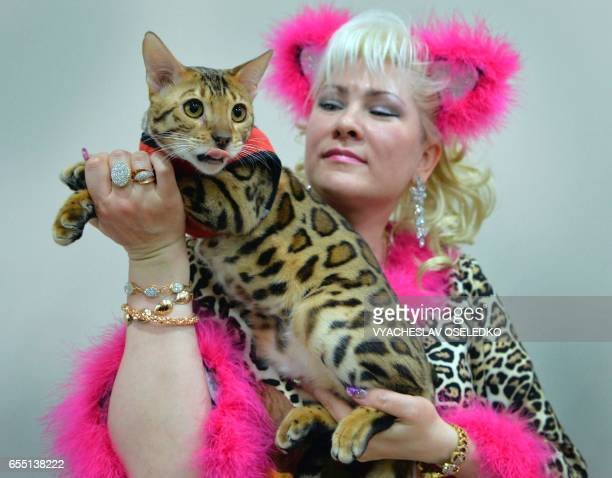 An owner poses with her Bengal cat during the International cat exhibition in Bishkek on March 19 2017 / AFP PHOTO / VYACHESLAV OSELEDKO