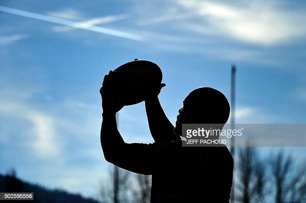 An Oyonnax player warms up prior to the French Top 14 rugby union match between Oyonnax and Stade Francais Paris on December 27 2015 at the...