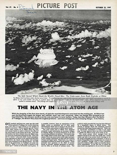An Picture Post magazine article on the implications of atomic warfare on the world's navies October 1947 The illustration shows a mushroom cloud...
