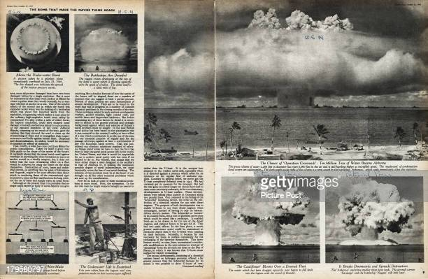 An Picture Post magazine article on the implications of atomic warfare on the world's navies October 1947 The illustrations show the Operation...