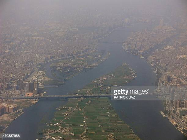An picture taken on April 19 shows an aerial view of a part of the Egyptian capital Cairo AFP PHOTO / PATRICK BAZ