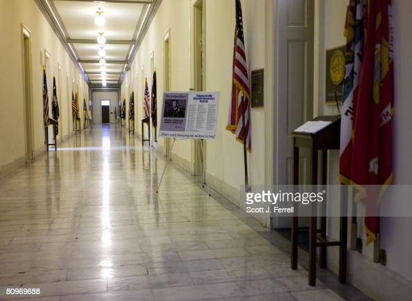An poster decrying a MoveOnorg ad against Army Gen David H Petraeus a hallway on the second floor of the Cannon House Office Building near the door...