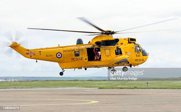 An RAF Search and Rescue Sea King Helicopter takes off at RAF Valley on July 9 2012 in Valley United Kingdom
