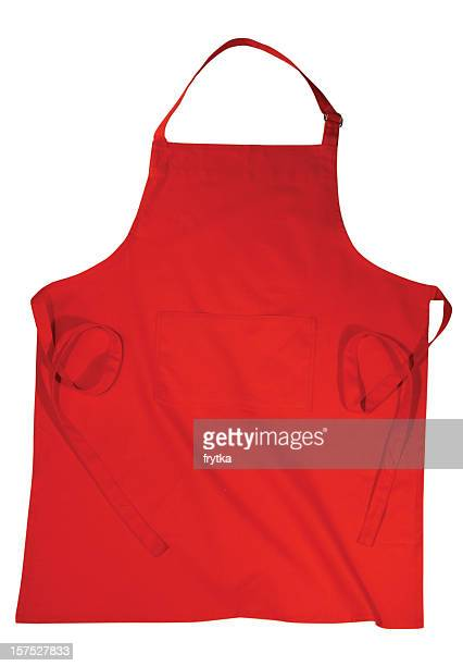 An red apron isolated on a white background