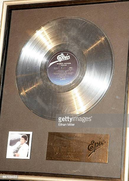 An RIAA platinum record award presented to Steve Manning for his contribution to making the Michael Jackson album 'Thriller' is displayed during an...
