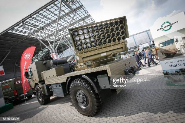 An RM70 Multiple Launch Rocket System is seen at the 25th International Defence Industry Exhibition in Kielce Poland on 8 September 2017 The Kielce...