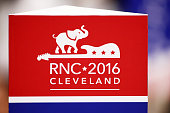 An RNC sign shown on the floor before the start of the first day of the Republican National Convention on July 18 2016 at the Quicken Loans Arena in...