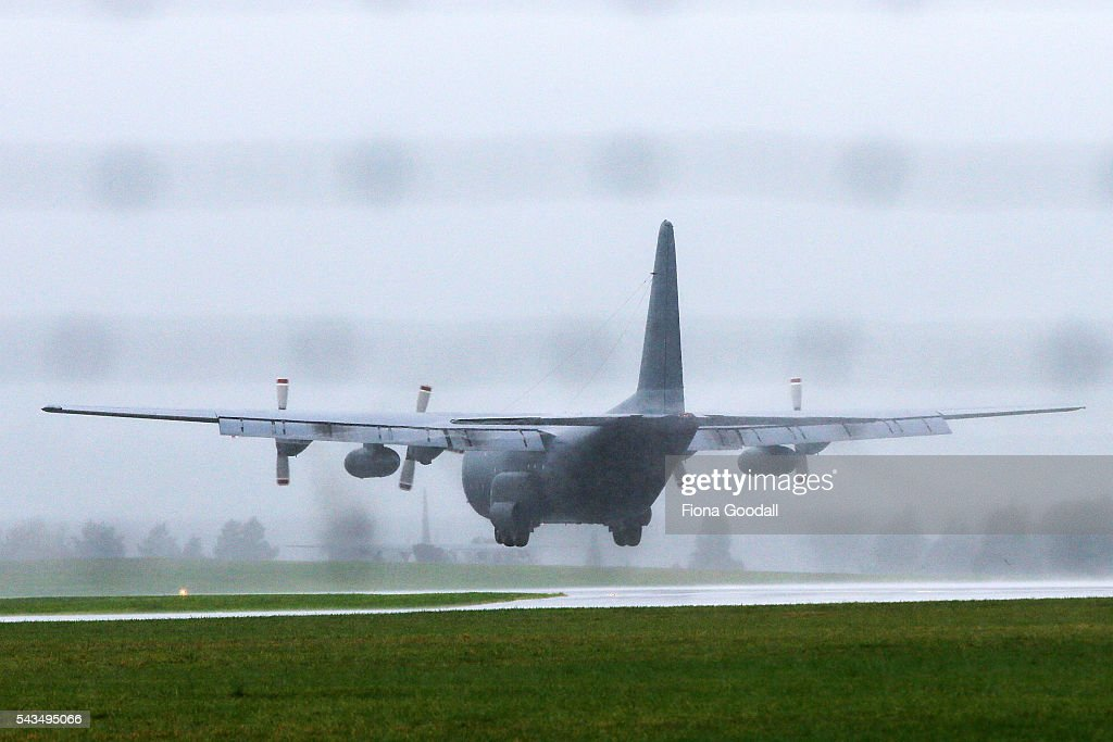An RNZAF C130 Hercules lands safely at Whenuapai Airport on June 29, 2016 in Auckland, New Zealand. Fire and rescue crews were on standby after the C-130 Hercules declared an emergency after reporting pressurisation issues in the air. There were 15 crew members on board.