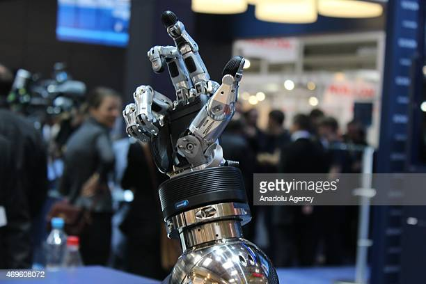 An robotic hand is seen during Hannover Messe industrial fair 2015 on April 13 2015 in Hannover Germany Hannover Messe industrial fair 2015 where the...