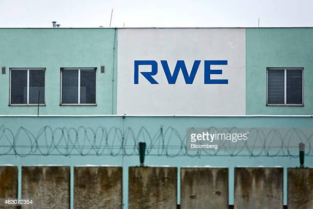 An RWE logo sits on the side of a plant building at the underground gas storage facility operated by RWE AG in Dolni Dunajovice Czech Republic on...