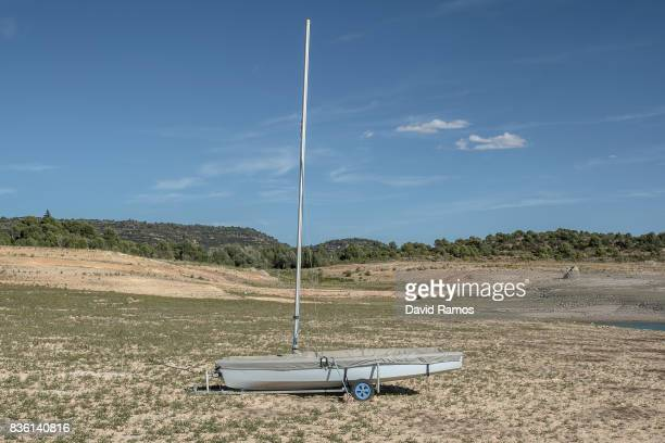 An sailboat sits on the dried bed of Entrepenas reservoir second largest water reservoir feeding the Segura River and Spain's Southeastern regions...
