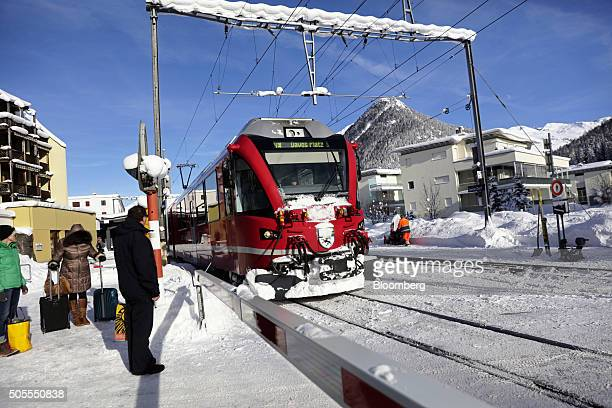 An SBB AG train arrives at Davos Dorf railway station in the town of Davos venue for the World Economic Forum in Davos Switzerland on Monday Jan 18...