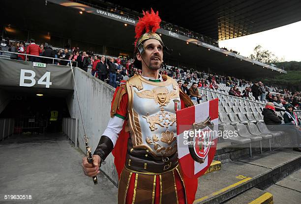 An SC Braga fan is seen prior to UEFA Europa League Quarter Final first leg match between SC Braga and Shakhtar Donetsk at the Estadio Municipal de...
