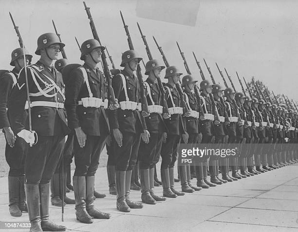 An SS honour guard at the 9th Party Congress of The Nazi Party Nuremberg 7th September 1937 The congress is entitled the 'Rally of Labour'
