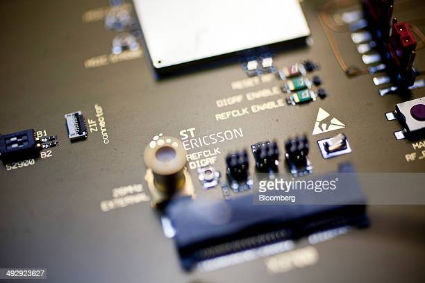 An ST Ericsson logo sits on a printed circuit board inside Ericsson AB's laboratory where they develop the M7450 modem for smartphones in Lund Sweden...