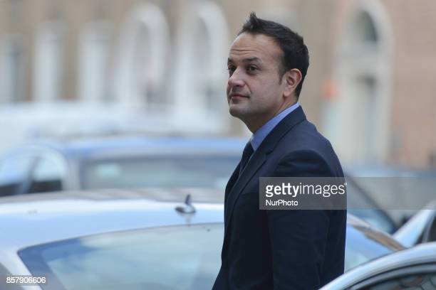 An Taoiseach and Leader of Fine Gael Leo Varadkar arrives at Fine Gael HQ to sign the book of condolence for the former Taoiseach Liam Cosgrave On...
