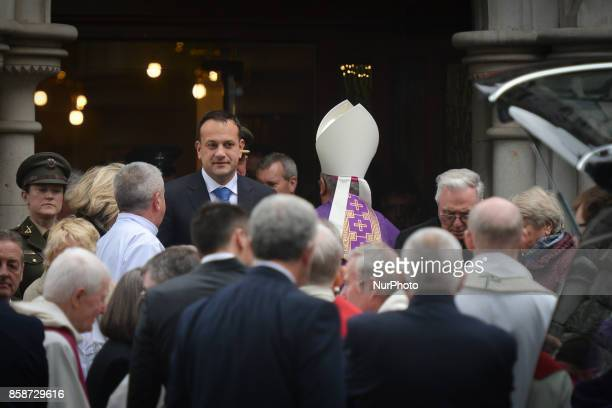 An Taoiseach and Leader of Fine Gael Leo Varadkar leaves the church behind the coffin of former Irish Taoiseach Liam Cosgrave that is carried out of...