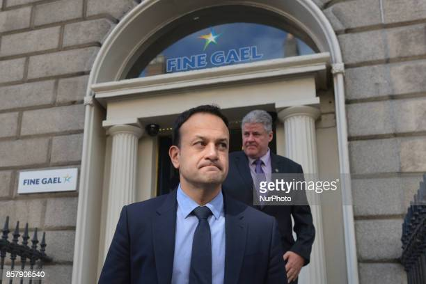 An Taoiseach and Leader of Fine Gael Leo Varadkar leaves the Fine Gael HQ after signing the book of condolence for the former Taoiseach Liam Cosgrave...