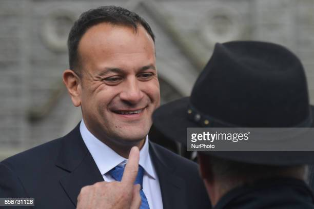 An Taoiseach and Leader of Fine Gael Leo Varadkar leaves the funeral service of former Taoiseach Liam Cosgrave On Saturday 7 October 2017 in...