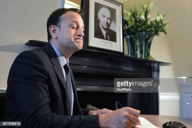 An Taoiseach and Leader of Fine Gael Leo Varadkar signs the book of condolence for the former Taoiseach Liam Cosgrave inside the Fine Gael HQ On...