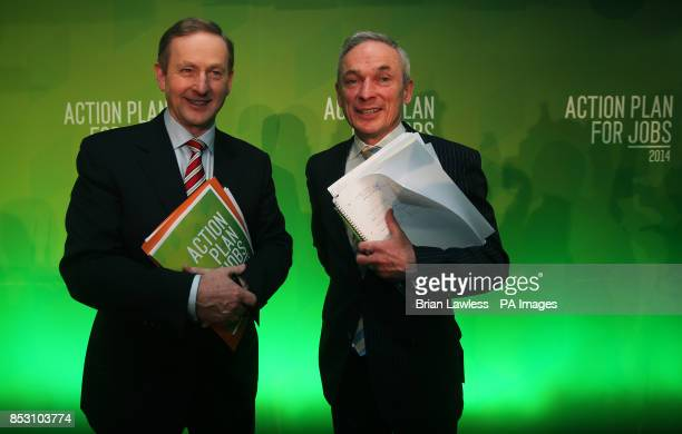 An Taoiseach Enda Kenny TD and Minister for Jobs Enterprise and Innovation Richard Bruton at the announcement of details of the Action Plan for Jobs...