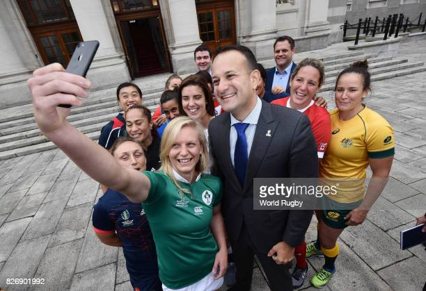 An Taoiseach Leo Varadkar has a selfie taken with the twelve captains including Irish captain Claire Malloy of the participating Womens Rugby World...