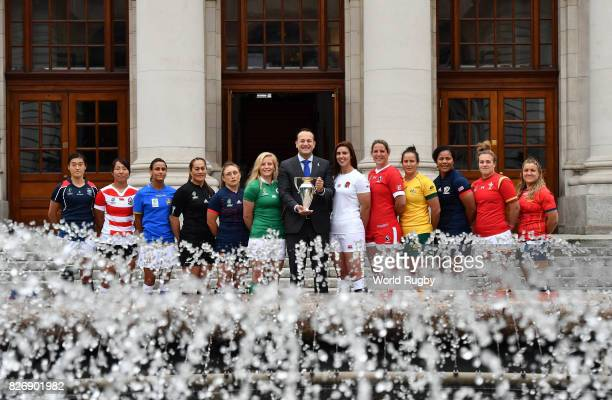 An Taoiseach Leo Varadkar welcomes the twelve captains of the participating Womens Rugby World Cup teams during a pre tournament launch at Goverment...