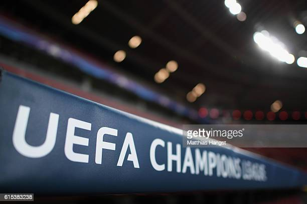 An UEFA Champions League logo seen prior to the UEFA Champions League match between Bayer 04 Leverkusen and Tottenham Hotspur FC at BayArena on...
