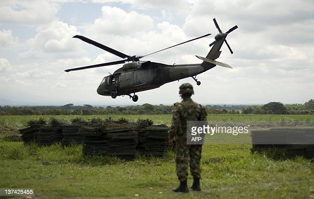 An UH60 Black Hawk army helicopter takes off from a military base in Miranda Cauca department Colombia on January 18 2012 The Colombian army created...