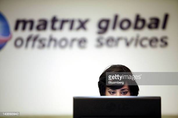 An ultra orthodox Israeli woman works at a computer terminal in the offices of Matrix Global a unit of Matrix IT Ltd in Modi'in Illit Israel on...