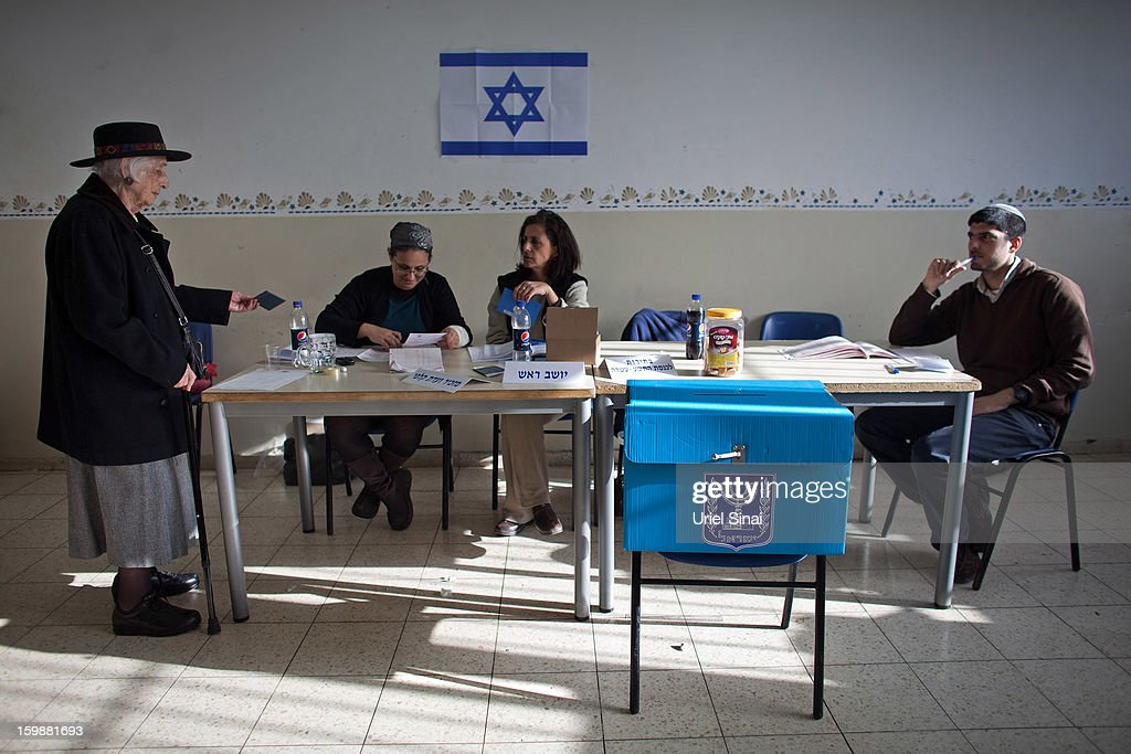 An Ultra Orthodox Jewish woman casts her vote at a polling station on January 22, 2013 in Kiryat Ye'arim, Israel. The latest opinion polls suggest that current Prime Minister Benjamin Netanyahu will return to office, albeit with a reduced majority.