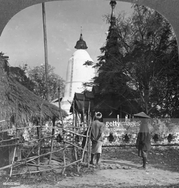 An umbrella shaped pagoda Bhamo Burma 1908 Stereoscopic card Detail