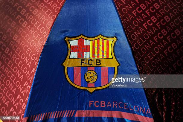 An umbrella with the Barcelona badge before the La Liga Division 1 match between Barcelona and Real Madrid at the Camp Nou in Barcelona Spain Photo...