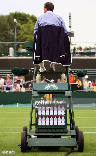 An umpire and water cooler on Day One of the Wimbledon Lawn Tennis Championships at the All England Lawn Tennis and Croquet Club on June 22 2009 in...