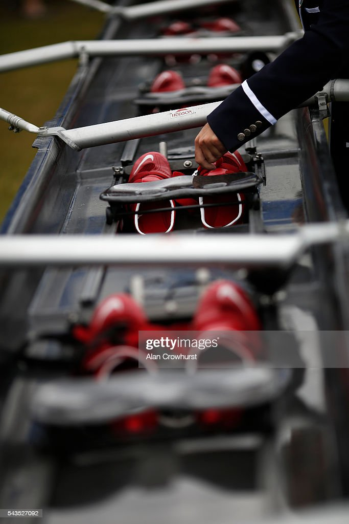 An umpire checks the shoes in the boat during the Henley Royal Regatta on June 29, 2016 in Henley-on-Thames, England.