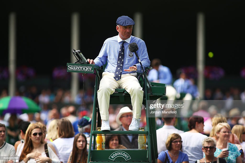 an umpire watches on during day two of the Wimbledon Lawn Tennis Championships at the All England Lawn Tennis and Croquet Club on June 28, 2016 in London, England.