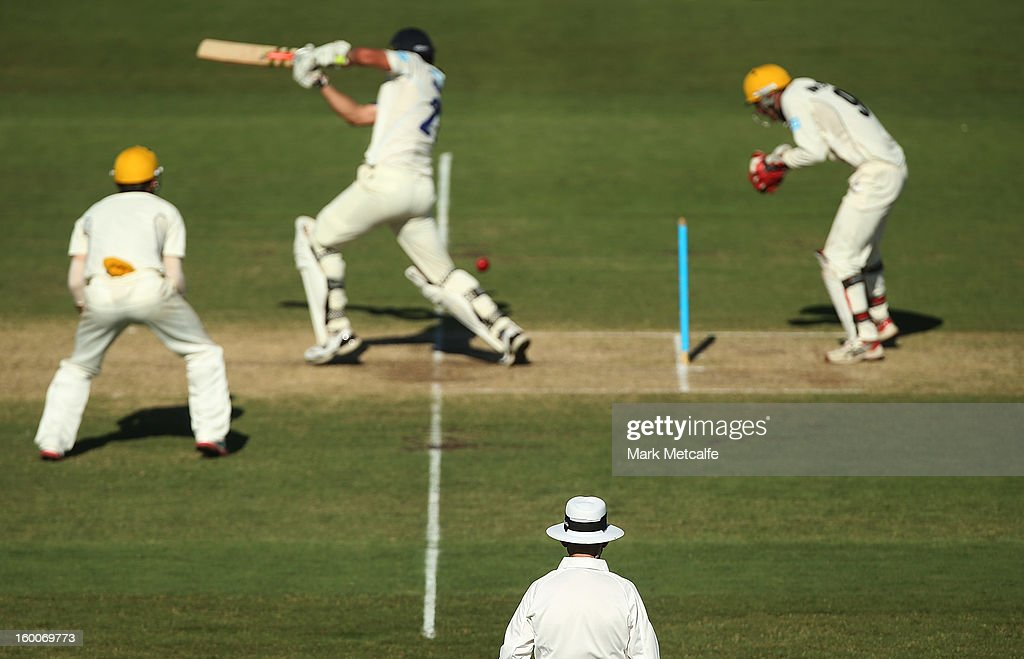 An umpire watches play during day two of the Sheffield Shield match between the New South Wales Blues and the Western Australia Warriors at Blacktown International Sportspark on January 25, 2013 in Sydney, Australia.
