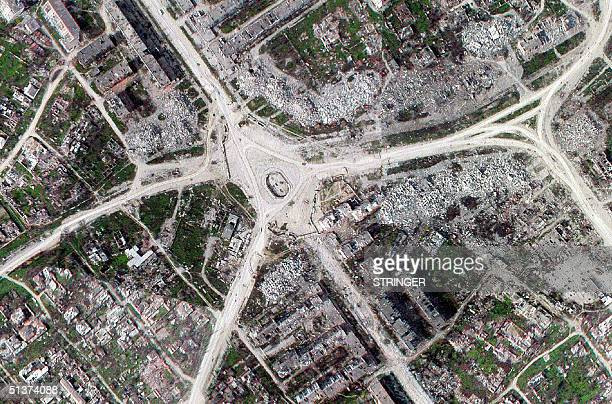 An undated air file picture shows destroyed central part of Grozny capital of Chechnya Five years after the war here began in October 1999 Chechnya...