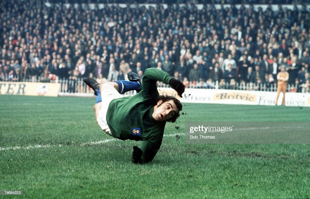 An undated file picture of Leicester City's Peter Shilton making a flying save