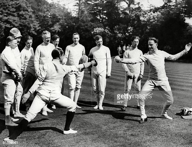 An undated photo showing English fencing students duelling