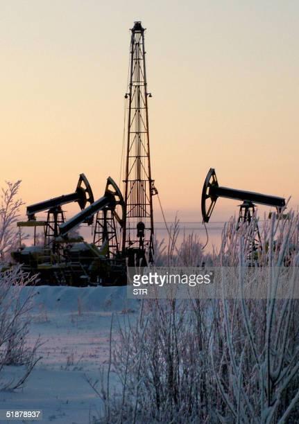 An undated picture shows the Prirazlomnoye oil well of Yuganskneftegaz Yukos' main production unit outside Nefteyugansk western Siberia Russia on 19...