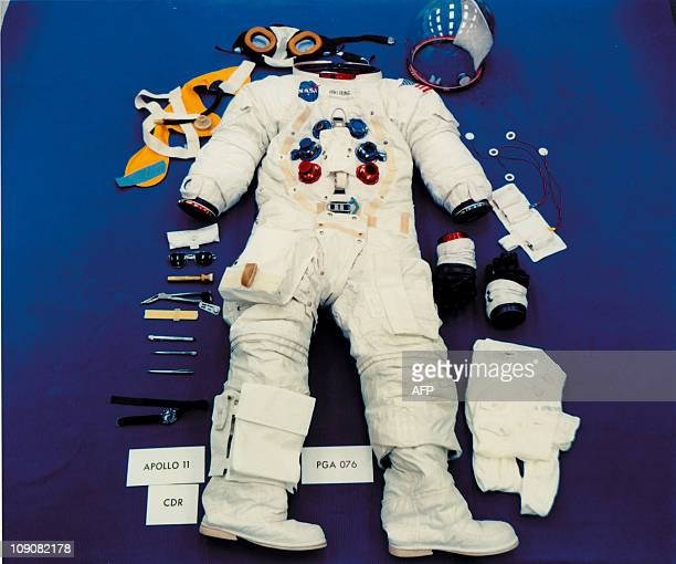 An undated picture shows the space suit US astronaut Neil Armstrong wore during his outing on the Lunar surface part of the Apollo XI manned space...