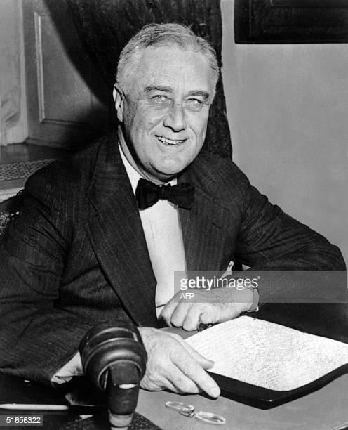 An undated portrait of US President Franklin D Roosevelt